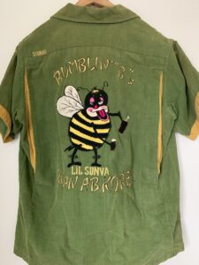 Drunken bee Korean bowling shirt worn by my dad in the 1960s